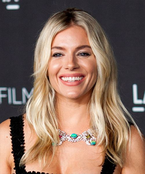 Sienna Miller Long Straight    Blonde   Hairstyle   with Light Blonde Highlights