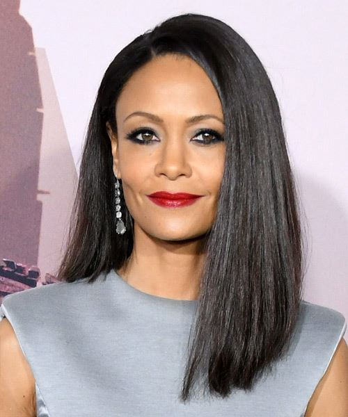Thandie Newton Long Straight   Black  Asymmetrical  Hairstyle with Side Swept Bangs