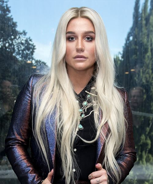 Kesha Long Straight   Light Grey   Hairstyle