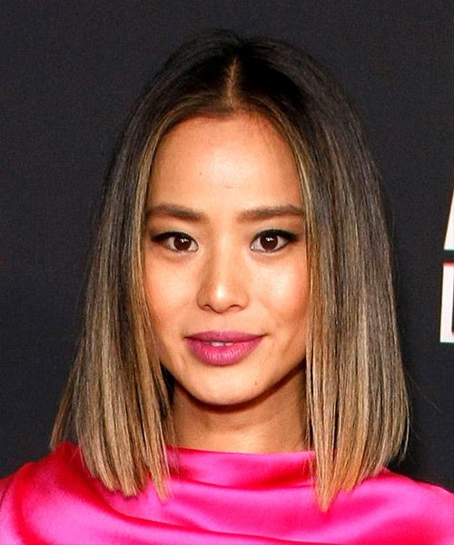 Jamie Chung Medium Straight    Brunette and  Blonde Two-Tone Bob  Haircut with Blunt Cut Bangs