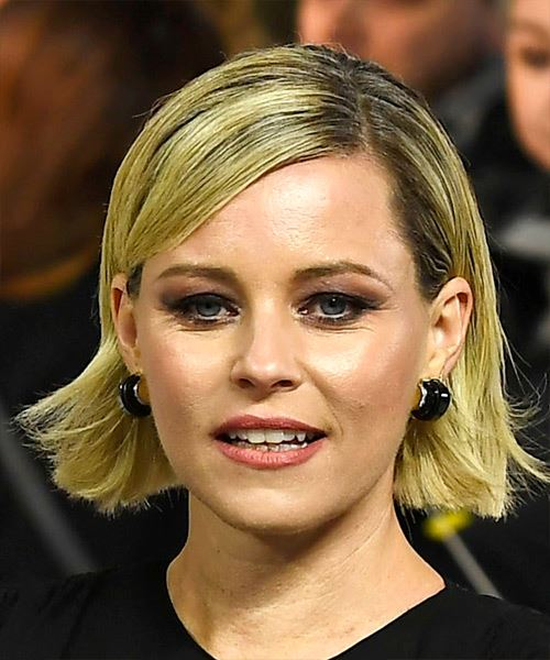 Elizabeth Banks Short Straight    Blonde Bob  Haircut with Side Swept Bangs