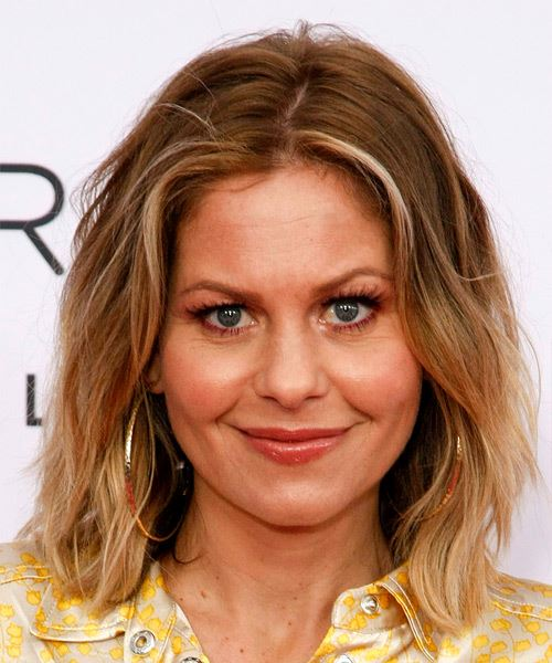 Candace Cameron Medium Straight Layered   Brunette Bob  Haircut   with Light Blonde Highlights