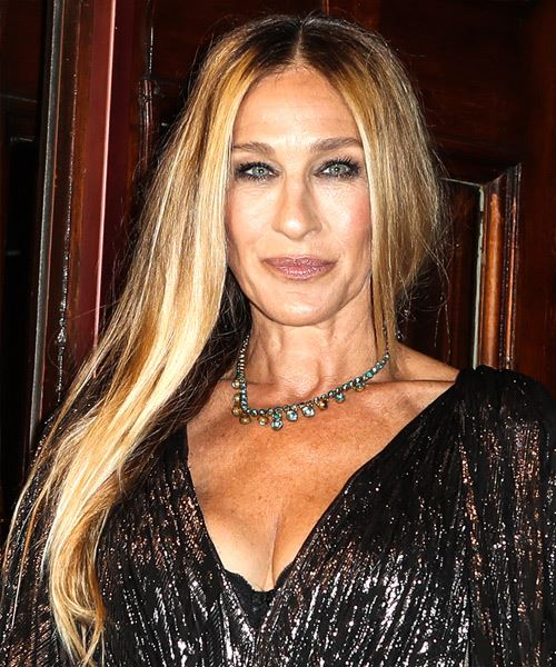 Sarah Jessica Parker Long Straight    Brunette   Hairstyle   with Light Blonde Highlights