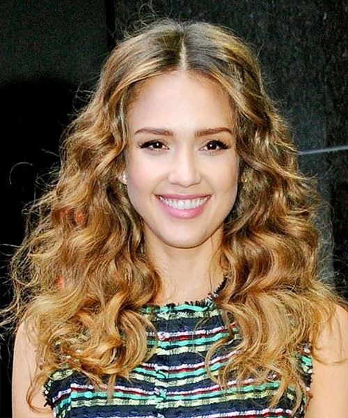 Jessica Alba Long Wavy    Brunette   Hairstyle   with Light Brunette Highlights