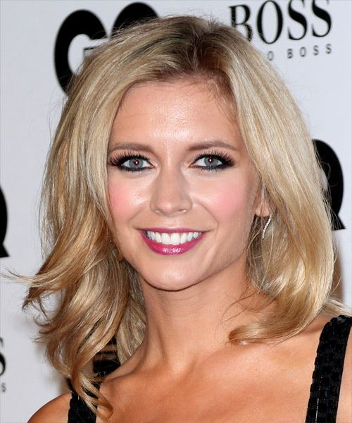 Rachel Riley Long Straight   Light Copper Blonde   Hairstyle with Side Swept Bangs