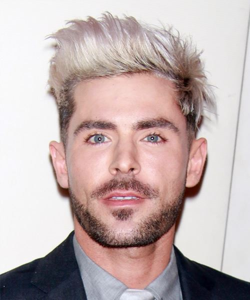 Zac Efron Short Straight   Light Blonde and Black Two-Tone   Hairstyle