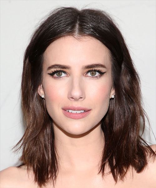 Emma Roberts Medium Straight Layered  Black  Bob  Haircut
