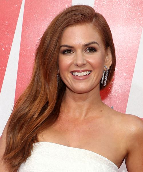 Isla Fisher Long Straight    Red   Hairstyle with Side Swept Bangs  and Light Red Highlights