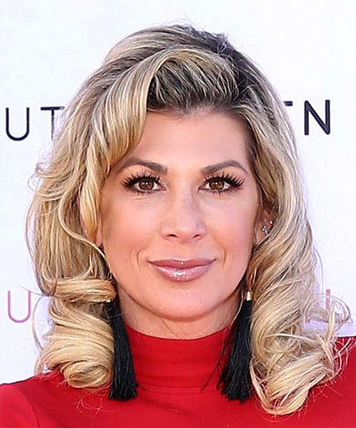 Alexis Bellino Medium Curly   Light Brunette   Hairstyle with Side Swept Bangs  and Light Blonde Highlights