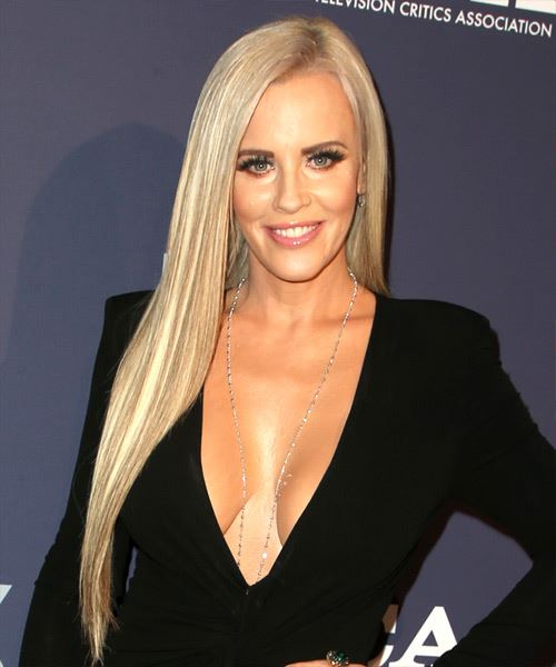 Jenny McCarthy Long Straight    Blonde   Hairstyle with Side Swept Bangs  and Light Blonde Highlights