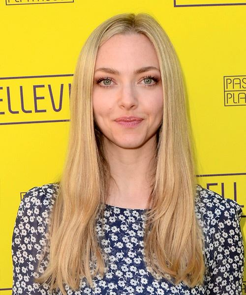 Amanda Seyfried Long Straight    Blonde   Hairstyle   with Light Blonde Highlights