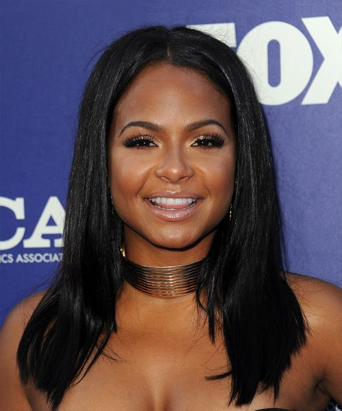 Christina Milian Long Straight   Black  Asymmetrical  Hairstyle with Blunt Cut Bangs