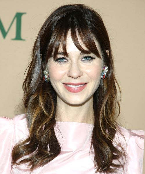 Zooey Deschanel Long Wavy    Brunette   Hairstyle with Blunt Cut Bangs  and  Blonde Highlights