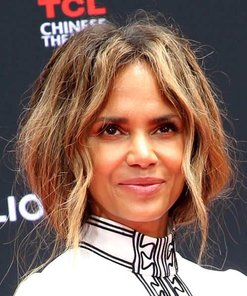 Halle Berry Long Wavy   Dark Brunette   Hairstyle with Layered Bangs  and  Blonde Highlights