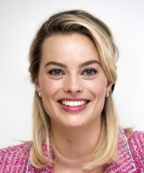 Margot Robbie Medium Straight    Blonde  Half Up Hairstyle with Side Swept Bangs