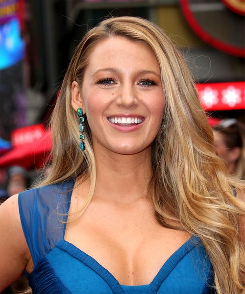 Blake Lively Long Straight    Blonde   Hairstyle with Side Swept Bangs  and Light Blonde Highlights