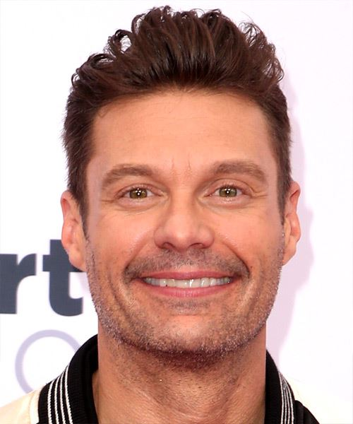 Ryan Seacrest Short Straight   Dark Brunette   Hairstyle