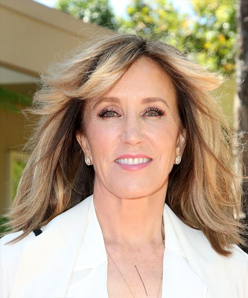 Felicity Huffman Medium Straight    Chocolate Blonde   Hairstyle with Blunt Cut Bangs