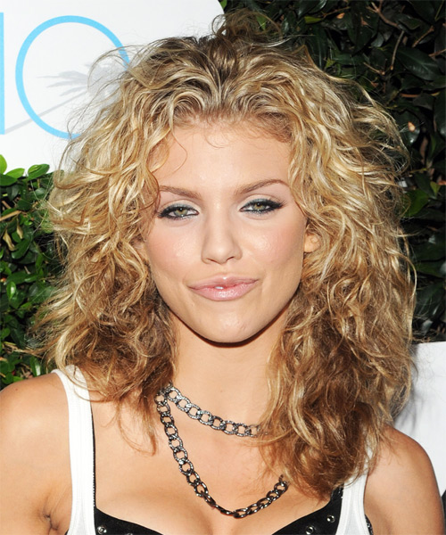 AnnaLynne McCord Long Curly Casual Hairstyle   Light Golden Blonde Hair  Color