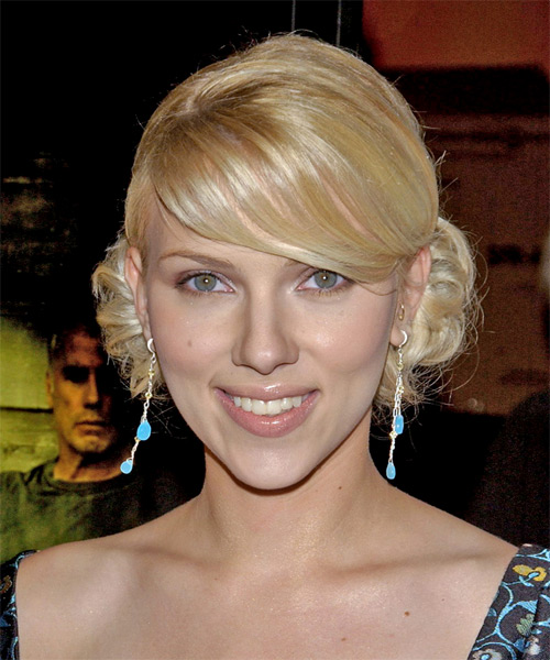Scarlett Johansson Medium Wavy Formal  Updo Hairstyle