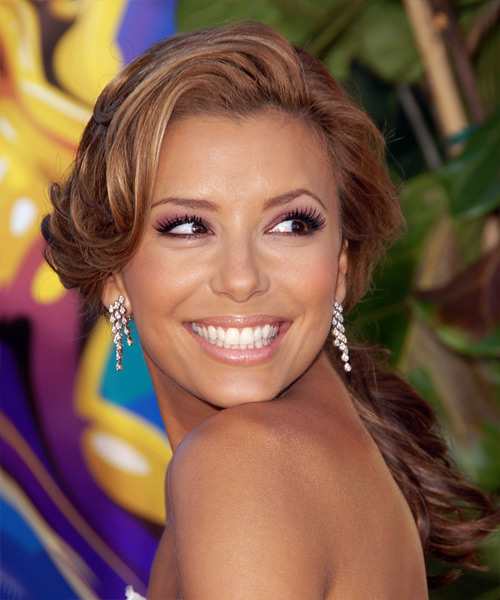 Eva Longoria Parker Long Wavy Formal   Updo Hairstyle   - Auburn Hair Color
