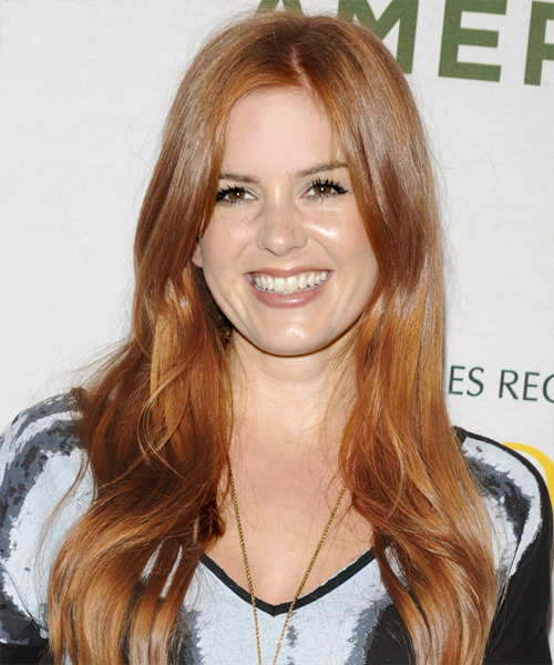 Isla Fisher Long Wavy Casual    Hairstyle   - Light Copper Red Hair Color