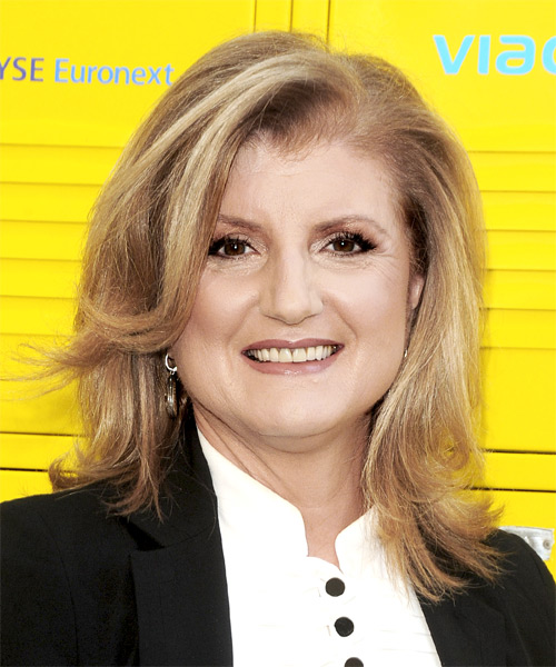 Ariana Huffington Long Straight Casual   Hairstyle