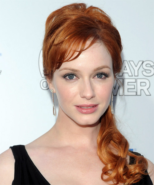 Christina Hendricks  Long Curly Formal   Updo Hairstyle