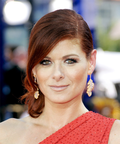Debra Messing  Long Straight Formal   Updo Hairstyle