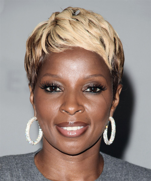 Mary J. Blige Short Straight Alternative    Hairstyle   - Light Blonde Hair Color