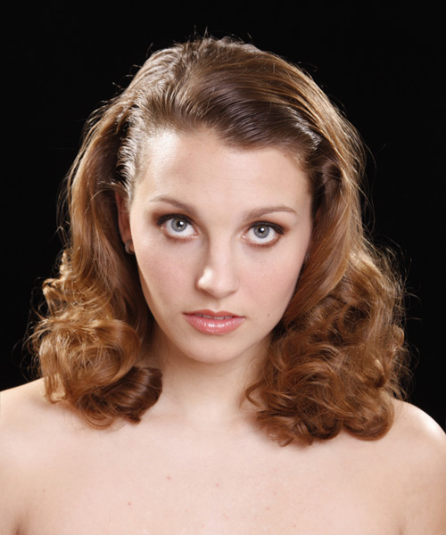 Medium Curly Formal    Hairstyle   - Medium Caramel Brunette Hair Color