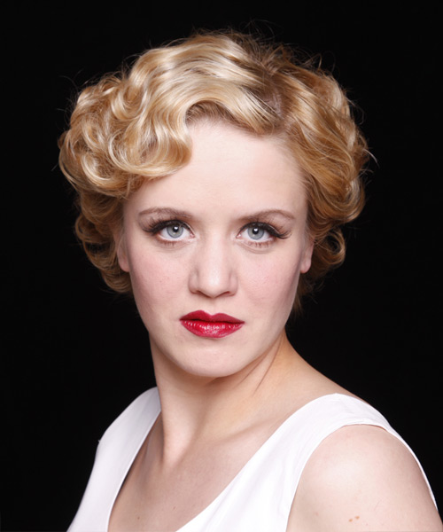 Short Wavy Formal    Hairstyle   - Medium Strawberry Blonde Hair Color