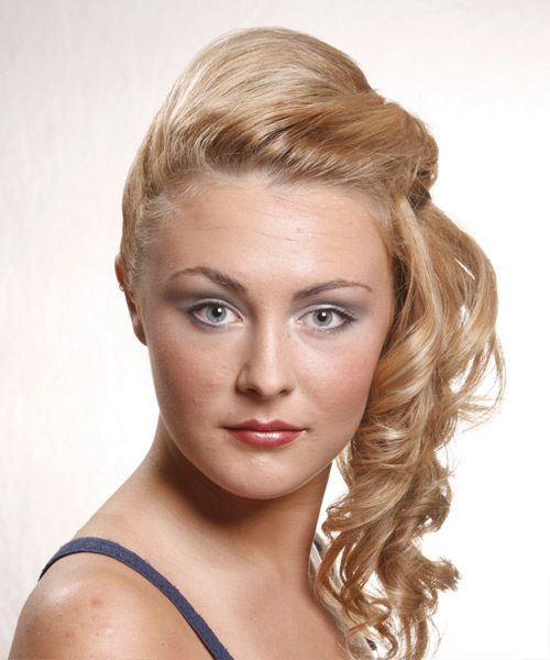 Long Curly Casual   Half Up Hairstyle   - Medium Golden Blonde Hair Color