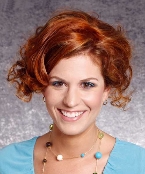 Short Curly Formal    Hairstyle   - Dark Copper Red Hair Color