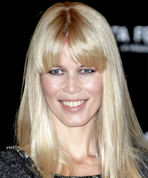 Claudia Schiffer Casual Long Straight Hairstyle