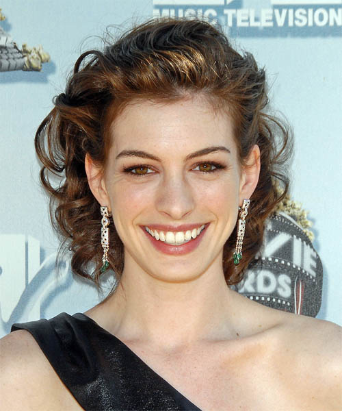 Anne Hathaway Updo Medium Curly Formal Wedding Updo Hairstyle