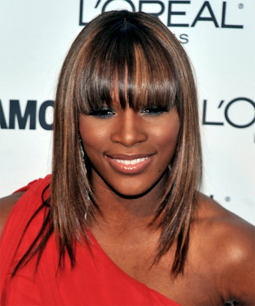 Serena Williams Casual Long Straight Hairstyle