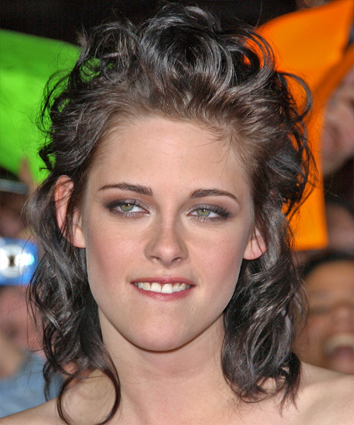 haircuts for with hair kristen stewart curly casual half up hairstyle 3459