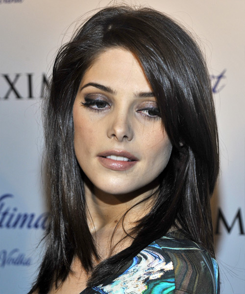 Ashley Greene Long Straight Casual    Hairstyle   - Black  Hair Color