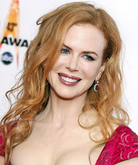 Nicole Kidman Long Wavy Casual    Hairstyle   - Light Copper Red Hair Color