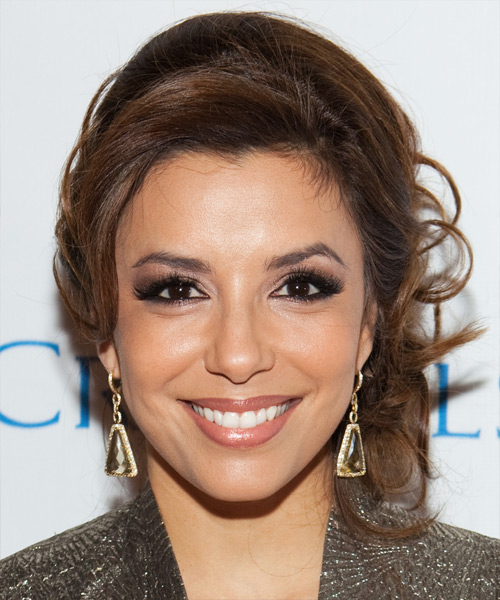 Eva Longoria Parker  Long Curly Formal   Updo Hairstyle   -  Chocolate Brunette Hair Color