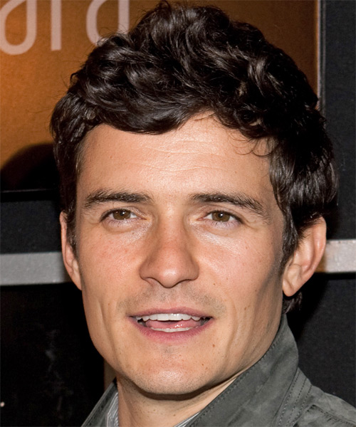 Orlando Bloom Short Wavy Casual   Hairstyle   - Dark Brunette (Mocha)