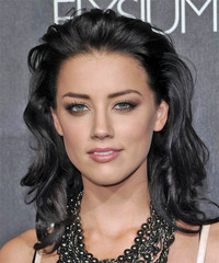 Amber Heard Long Wavy Formal    Hairstyle   - Black  Hair Color