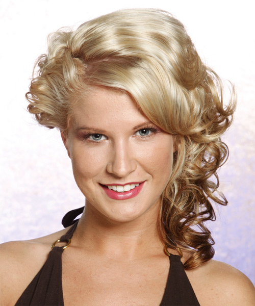 Long Curly Formal   Updo Hairstyle   - Light Chestnut Blonde Hair Color
