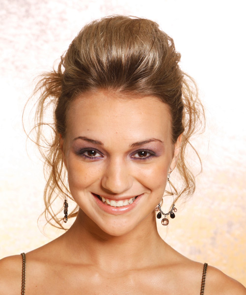 Long Straight Casual   Updo Hairstyle   - Dark Blonde Hair Color