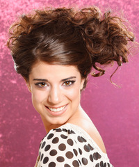 Long Curly Casual   Updo Hairstyle   -  Chocolate Brunette Hair Color