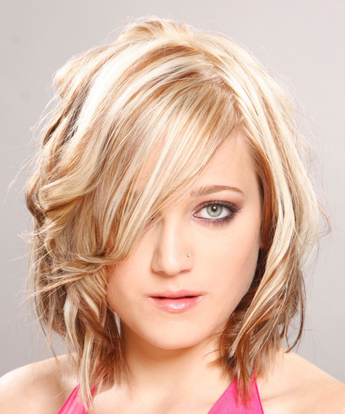 Medium Wavy Alternative    Hairstyle with Side Swept Bangs  - Light Blonde Hair Color