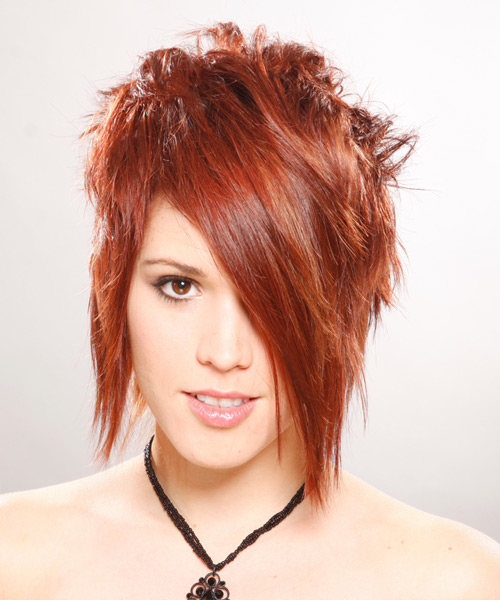 Short Straight Alternative    Hairstyle with Asymmetrical Bangs  -  Ginger Red Hair Color