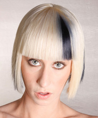Medium Straight Alternative  Bob  Hairstyle with Blunt Cut Bangs  - Light Platinum Blonde Hair Color with Black Highlights
