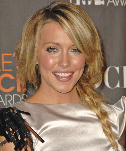 Katie Cassidy Half Up Long Straight Casual  Half Up Hairstyle